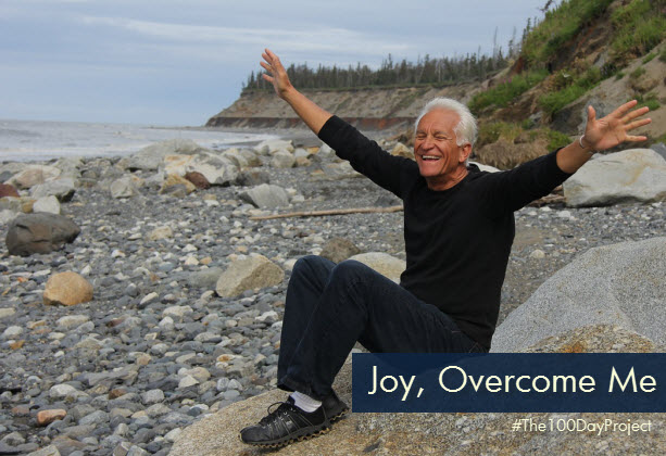 joyful man on beach